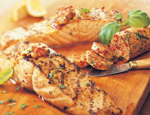 Grilled Salmon Steaks with Tomato-Basil Butter