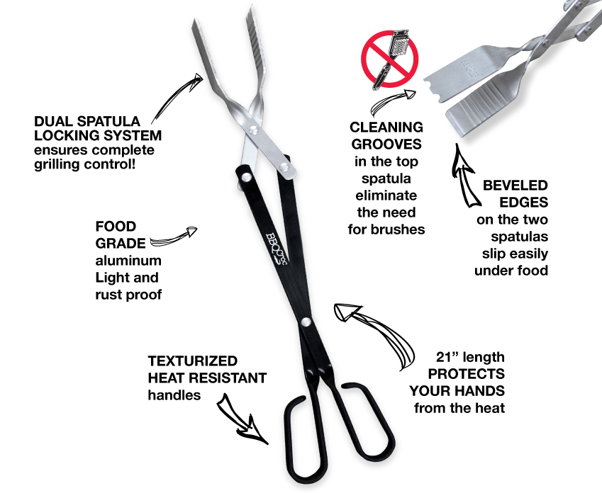 BBQ Croc 3 in 1 barbecue tool eliminates the need for multiple cumbersome tools.